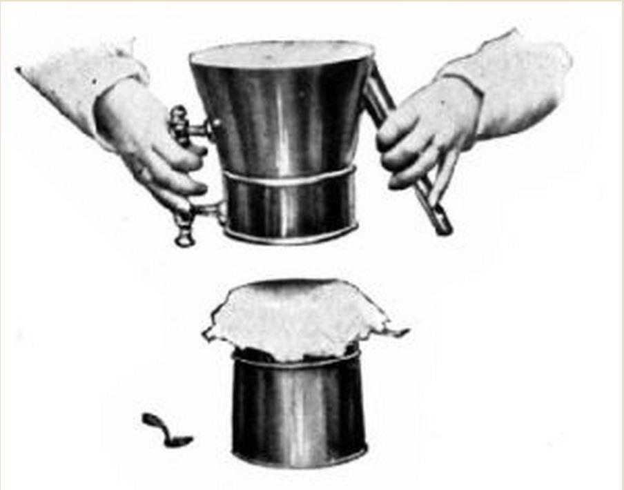 A kávétartály alját egy ronggyal fedték le, így egy primitív szűrőt kaptak. A rongyot tisztították és újra felhasználták. Ma erre a célra papírfiltert használnánk, de nem ez volt mindig így. Az összeszerelt szerkezetet felfordították, belemérték a kávé őrleményt és ráöntötték a vizet, ami a rongyon keresztül megszűrve került a kancsóba.