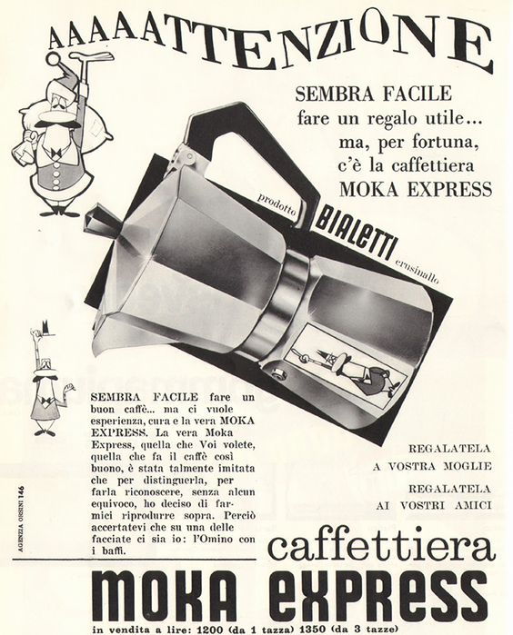 vintage bialetti moka express advertisement